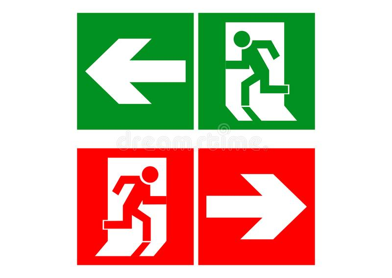 Safe sign. The exit icon. Emergency exit. Vector illustration. stock illustration