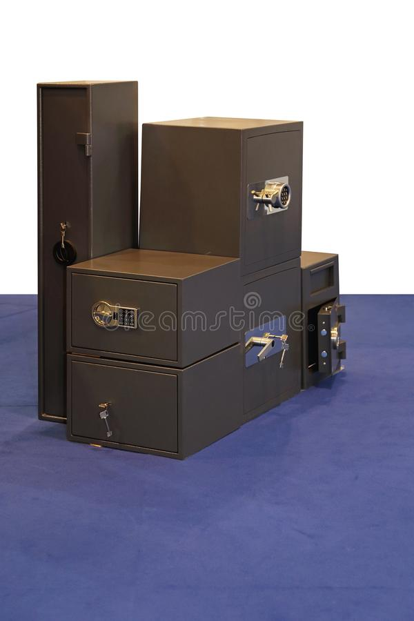 Safe Strong Box. Various Sizes of Safe Strong Box Safety Vault royalty free stock images