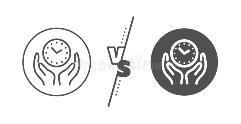 Safe time line icon. Clock sign. Hold watch. Vector. Clock sign. Versus concept. Safe time line icon. Hold watch symbol. Line vs classic safe time icon. Vector stock illustration
