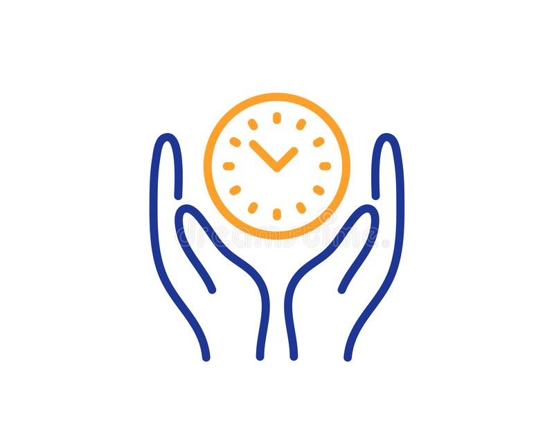 Safe time line icon. Clock sign. Office management. Vector. Clock sign. Safe time line icon. Office management symbol. Colorful outline concept. Blue and orange royalty free illustration