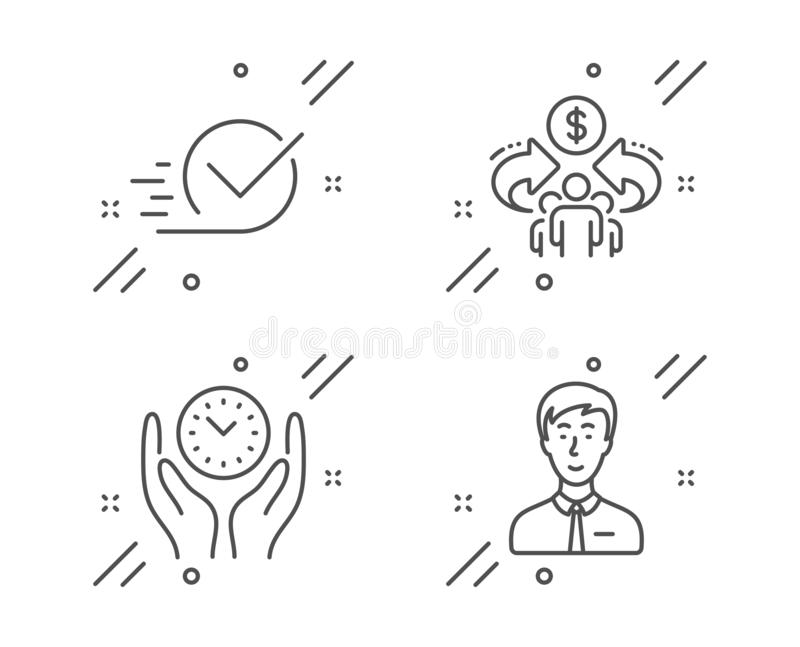 Safe time, Sharing economy and Checkbox icons set. Businessman person sign. Management, Share, Approved. Vector. Safe time, Sharing economy and Checkbox line royalty free illustration