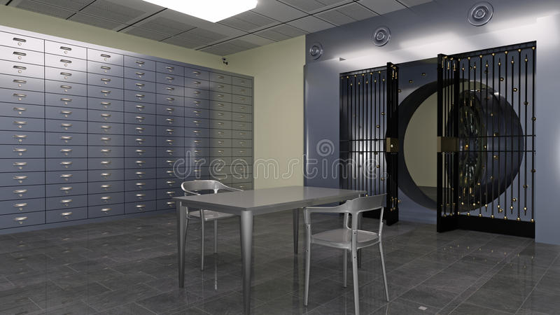 Safe Vault, inside of a bank vault with deposit boxes and metal table and chairs, 3D illustration stock illustration