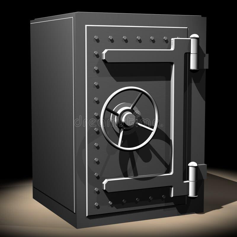Safe04. Rendered steel safe over black background