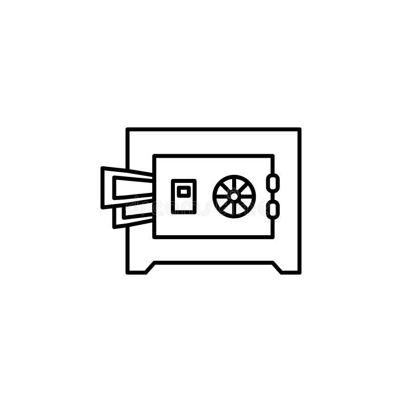 Safebox, εικονίδιο χρημάτων Στοιχείο του εικονιδίου νόμου και δικαιοσύνης Λεπτό εικονίδιο γραμμών για το σχέδιο ιστοχώρου και την διανυσματική απεικόνιση
