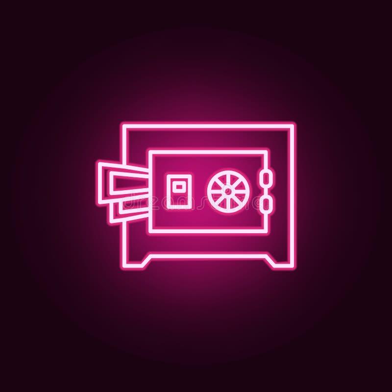 Safebox, het pictogram van het geldneon Elementen van Wet & Rechtvaardigheidsreeks Eenvoudig pictogram voor websites, Webontwerp, vector illustratie