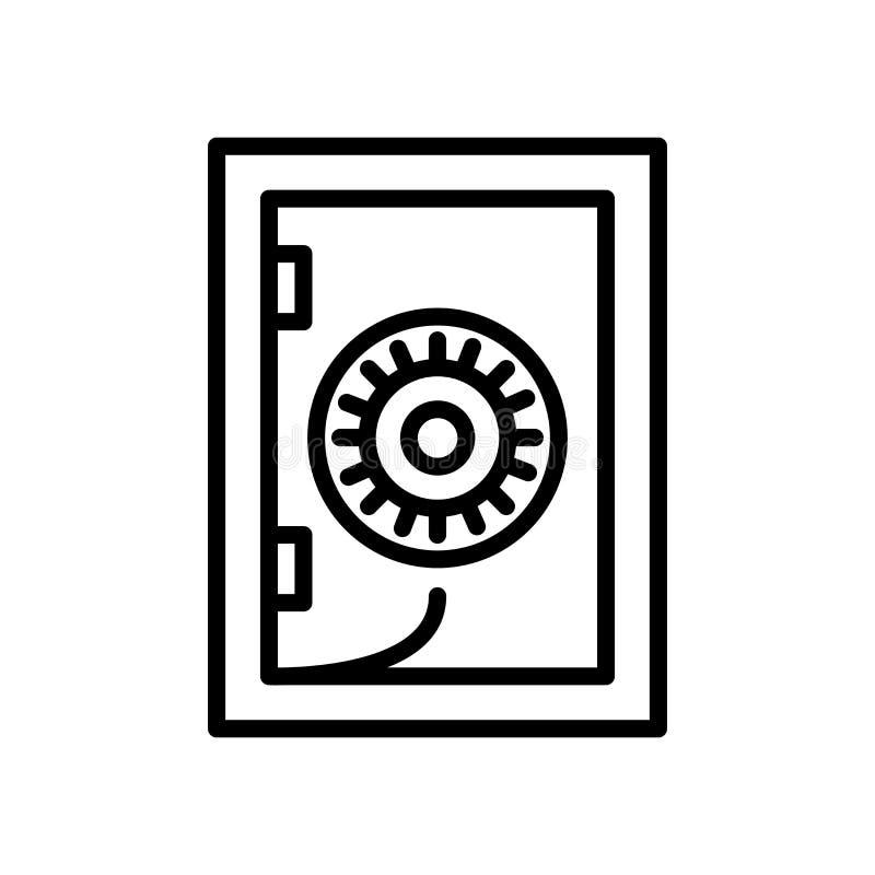 Safebox symbolsvektor som isoleras på det vita bakgrund, Safebox tecknet, linjen och översiktsbeståndsdelar i linjär stil stock illustrationer