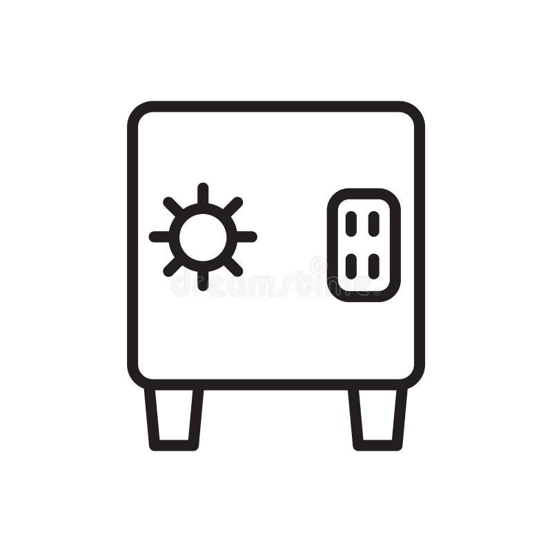 Safebox symbolsvektor som isoleras på vit bakgrund, det Safebox tecknet, linjärt symbol och slaglängddesignbeståndsdelar i översi vektor illustrationer