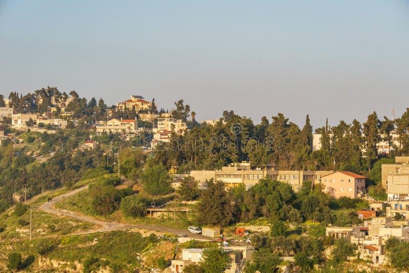 Safed Israel - mars 31, 2018: Panora sikt till den gamla staden av Safed Israel royaltyfri fotografi