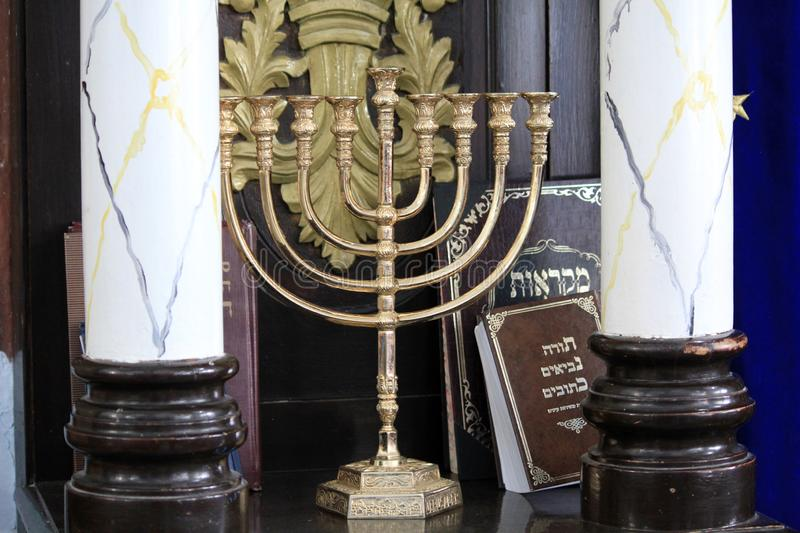 Menorah in the synagogue royalty free stock photography