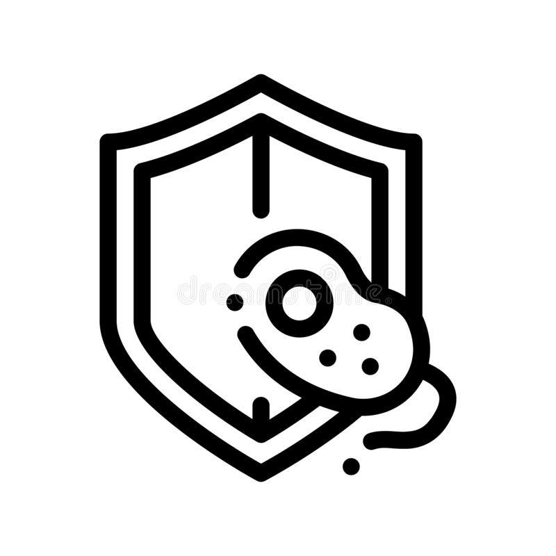 Safeguard Healthcare Bacteria Vector Sign Icon. Thin Line. Healthy Organism Bacteria Linear Pictogram. Chemical Microbe Type Infection Microorganism stock illustration