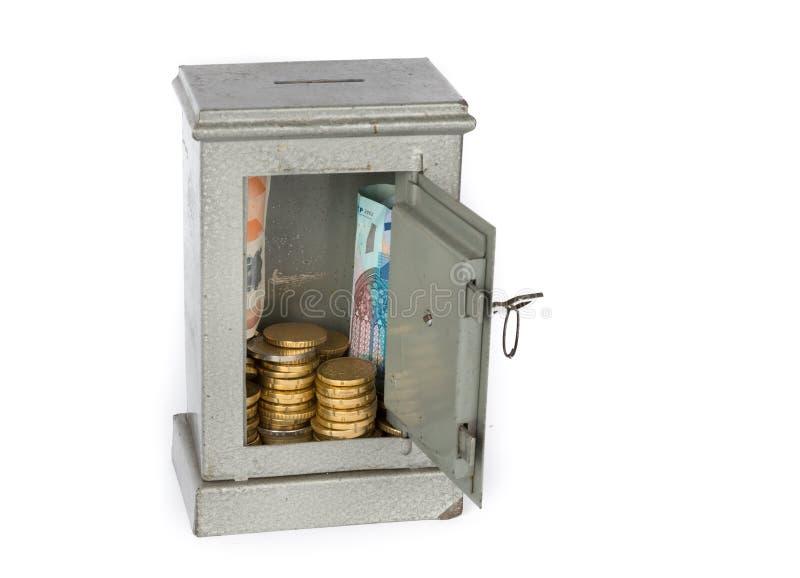 Safes zusammen mit Geld stockfoto