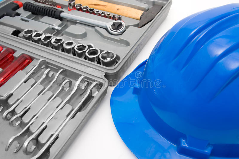 Download Safety Blue Helmet And Tool Box Stock Image - Image of handy, protect: 11570085