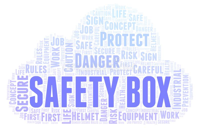 Safety Box word cloud. Word cloud made with text only stock illustration