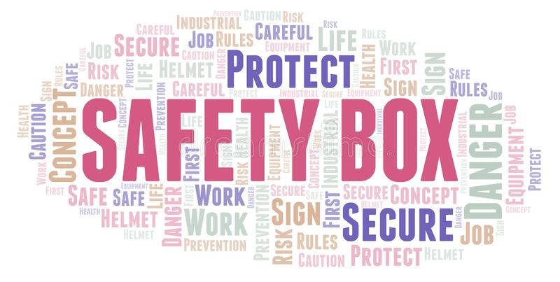 Safety Box word cloud. Word cloud made with text only royalty free illustration
