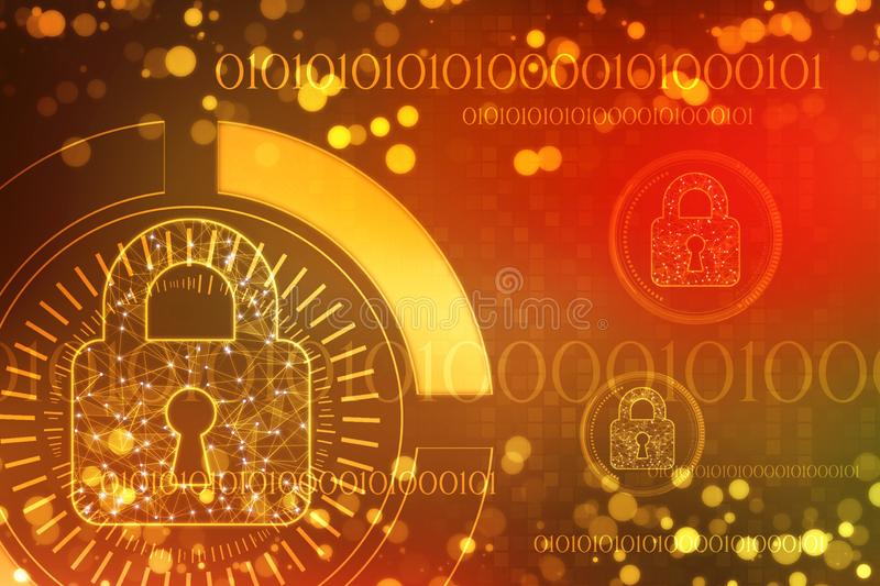 Lock on digital background, Cyber Security and internet Security Background. Safety concept: Closed Padlock on digital background, Cyber Security and internet stock illustration