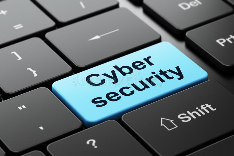 Safety concept: Cyber Security on computer. Safety concept: computer keyboard with word Cyber Security, selected focus on enter button background, 3d render