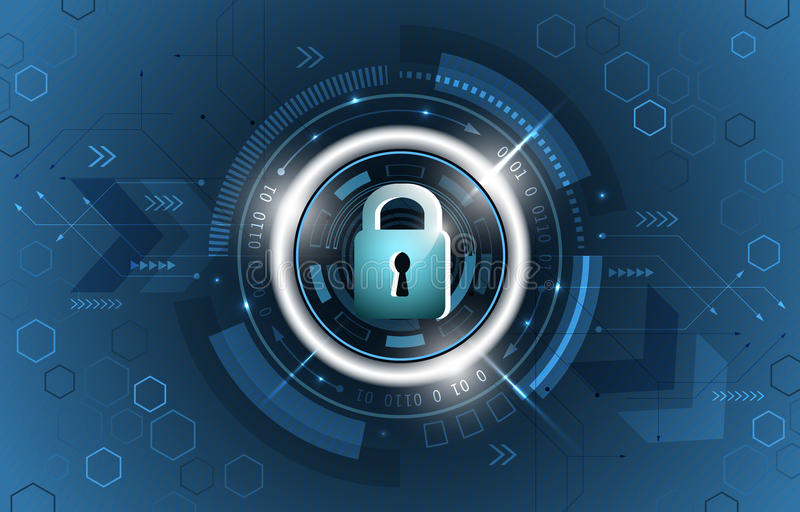 Safety concept. Global security technological background. Closed padlock, glitter, circuit board and hexagon shapes. stock illustration