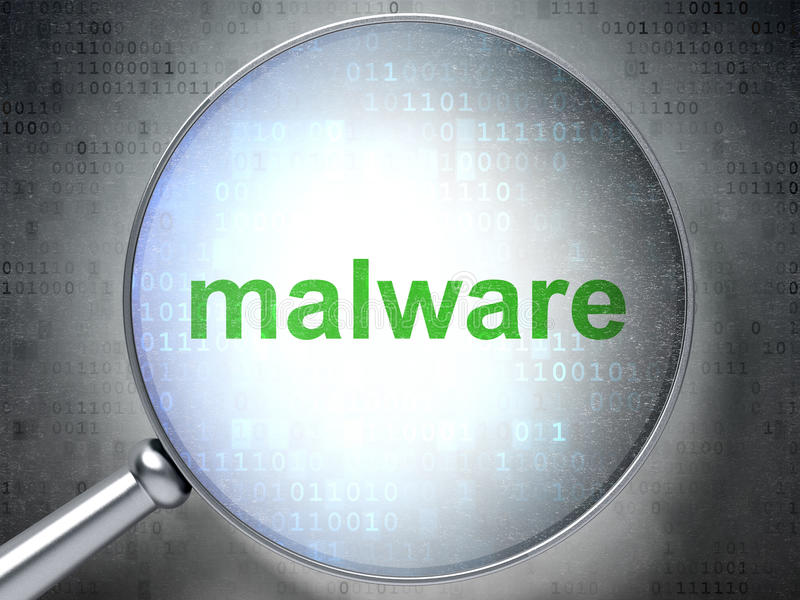 Safety concept: Malware with optical glass vector illustration