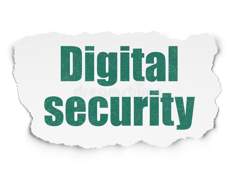 Safety concept: Digital Security on Torn Paper background. Safety concept: Painted green text Digital Security on Torn Paper background with Scheme Of Hand Drawn royalty free illustration