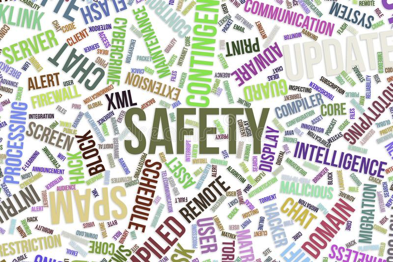 Safety, conceptual word cloud for business, information technology or IT. stock illustration