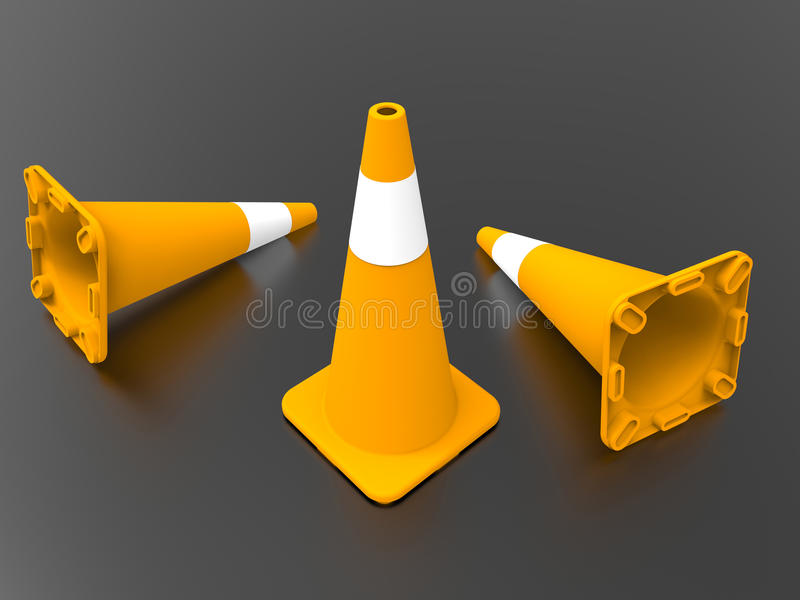 Safety cones with reflections royalty free illustration