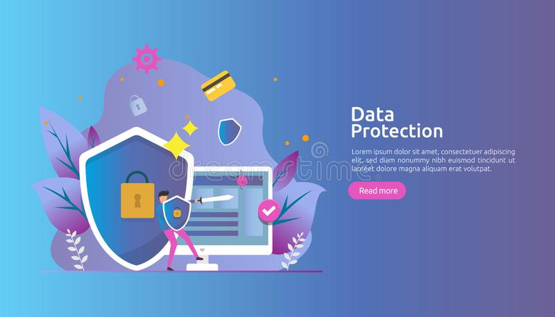 Safety and confidential data protection. VPN internet network security. Traffic encryption personal privacy concept with people stock illustration