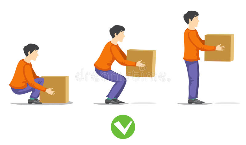 Safety correct lifting of heavy box vector illustration royalty free illustration