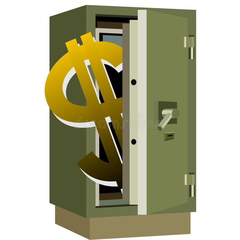 Safety deposit box. And dollar sign inside the safe. The illustration on a white background vector illustration