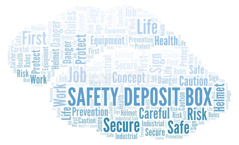 Safety Deposit Box word cloud. Word cloud made with text only royalty free illustration