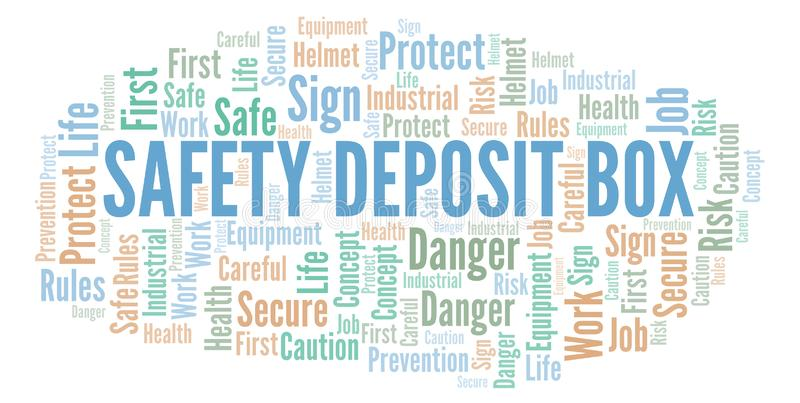 Safety Deposit Box word cloud. Word cloud made with text only stock illustration