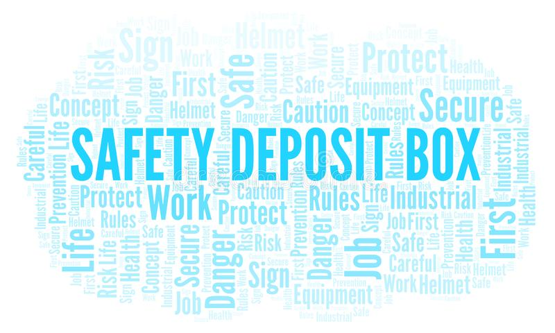 Safety Deposit Box word cloud. Word cloud made with text only vector illustration