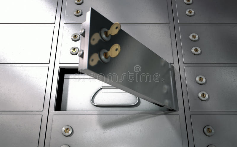 Safety Deposit Boxes. A closeup of a wall of closed metal safety deposit boxes with one open revealing its contents inside stock images