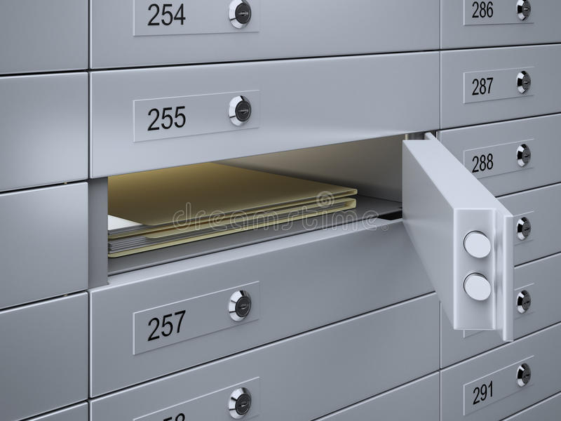 Safety deposit boxes with documents. 3d render of Safety deposit boxes with documents vector illustration