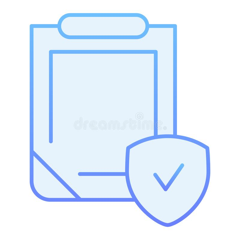 Safety document flat icon. Clipboard with shield blue icons in trendy flat style. Insurance policy gradient style design stock illustration