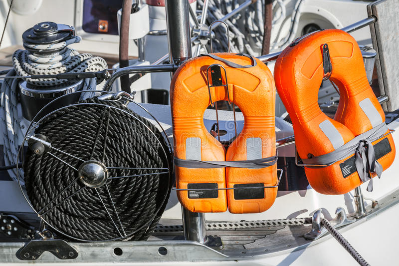 Safety equipment of modern yacht stock photo