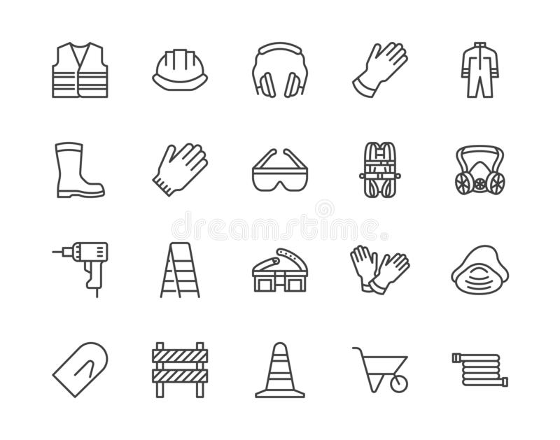 Safety equipment, required PPE flat line icons set. Protective gloves builder helmet respirator, harness vector stock illustration