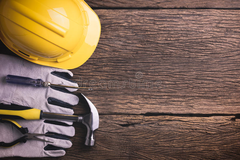 Download Safety Equipment And Tool Kit On Wooden Background Stock Image - Image of health, personal: 70254169