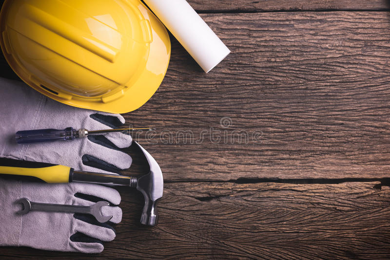Download Safety Equipment And Tool Kit On Wooden Background Stock Photo - Image of space, equipment: 70254218