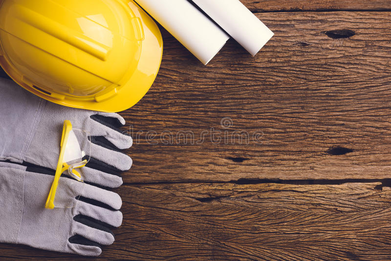 Download Safety Equipment And Tool Kit On Wooden Background Stock Photo - Image of personal, risk: 74047582
