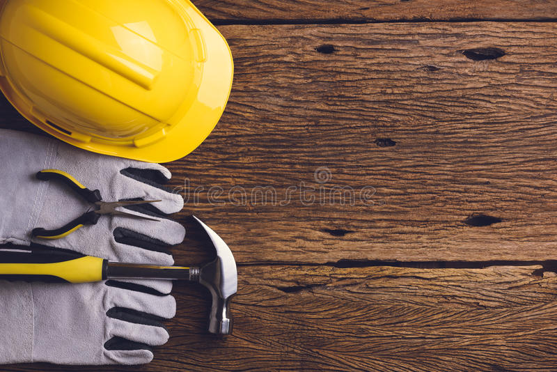 Download Safety Equipment And Tool Kit On Wooden Background Stock Image - Image of safety, protective: 74048327