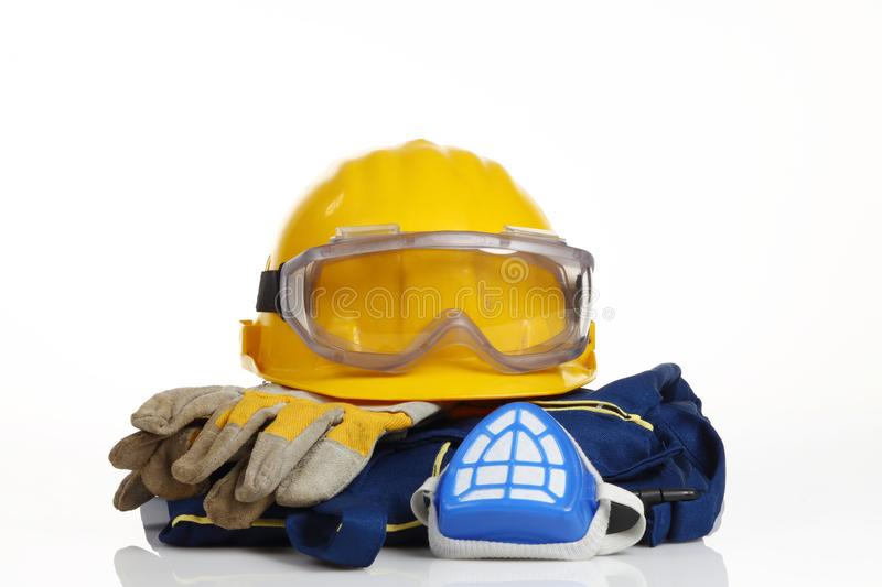 Safety equipment. On white background royalty free stock image