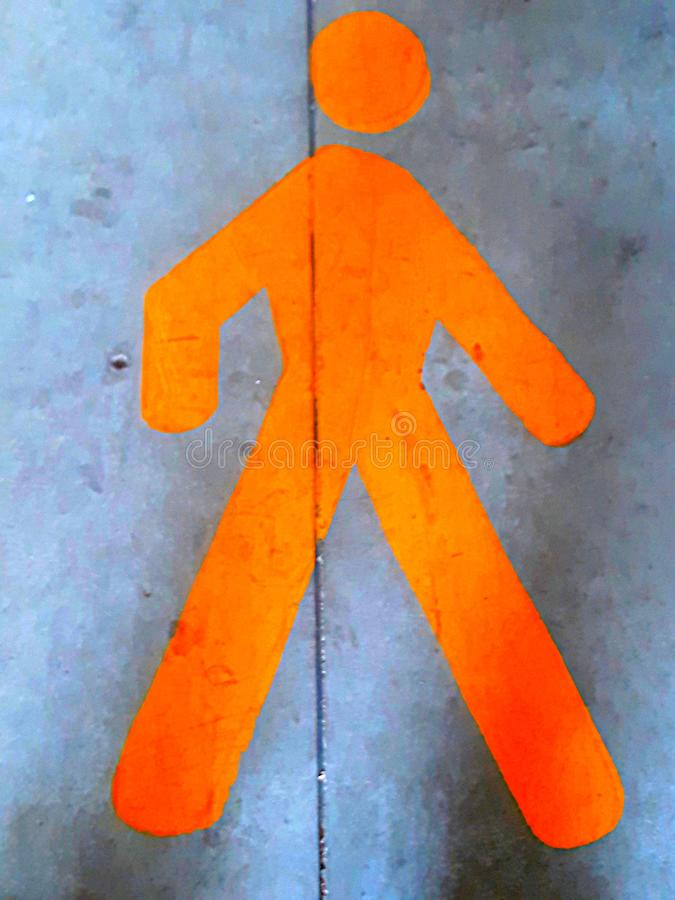 Orange man. Safety exit signal escape route signposting royalty free stock images