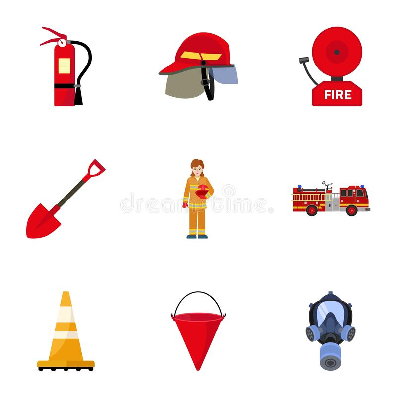 Safety firefighter icon set, flat style. Safety firefighter icon set. Flat set of 9 safety firefighter vector icons for web design isolated on white background royalty free illustration