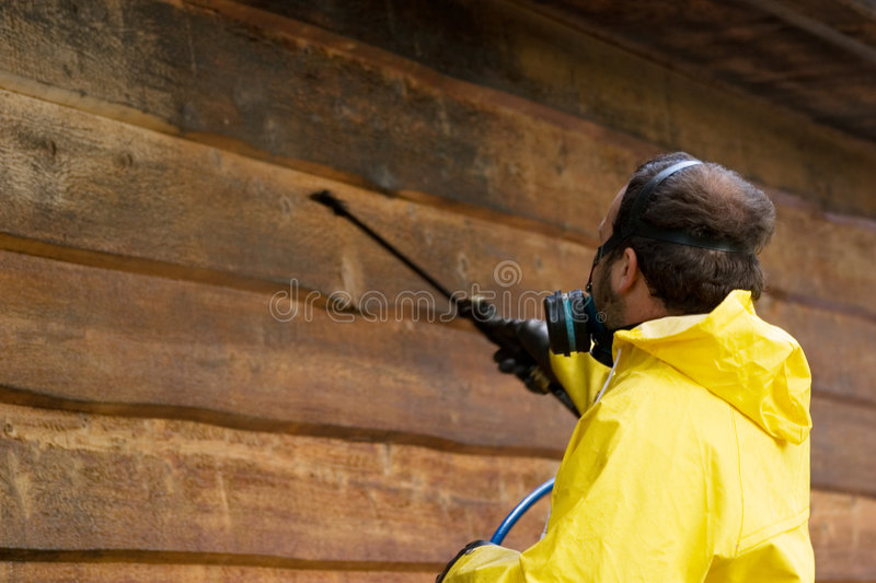 Safety First. A man wearing a respiratore while he sprays some siding royalty free stock photos