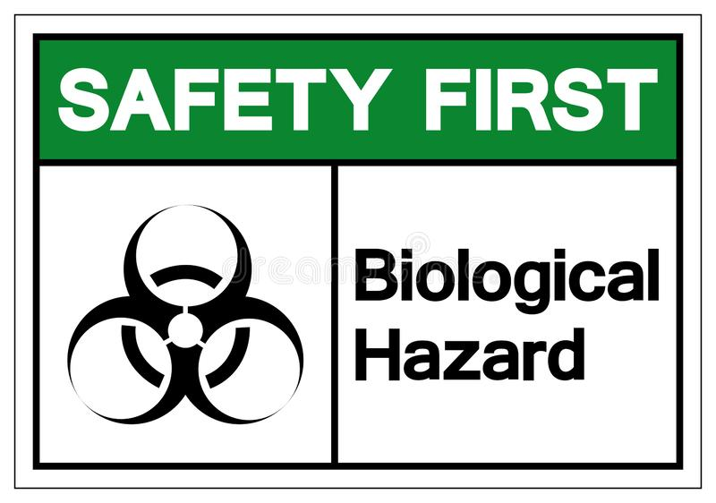 Safety First  Biological Hazard Symbol Sign, Vector Illustration, Isolate On White Background Label. EPS10 stock illustration