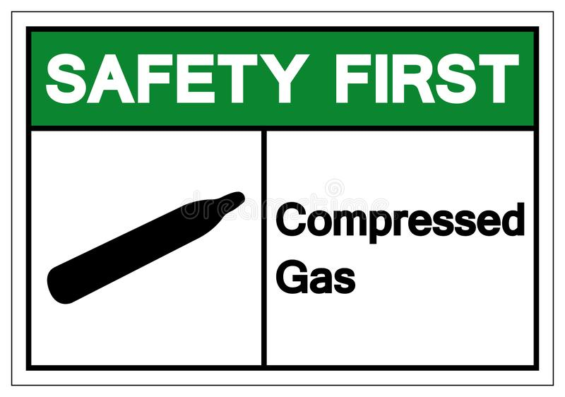 Safety First Compressed Gas Symbol Sign, Vector Illustration, Isolate On White Background Label. EPS10 vector illustration