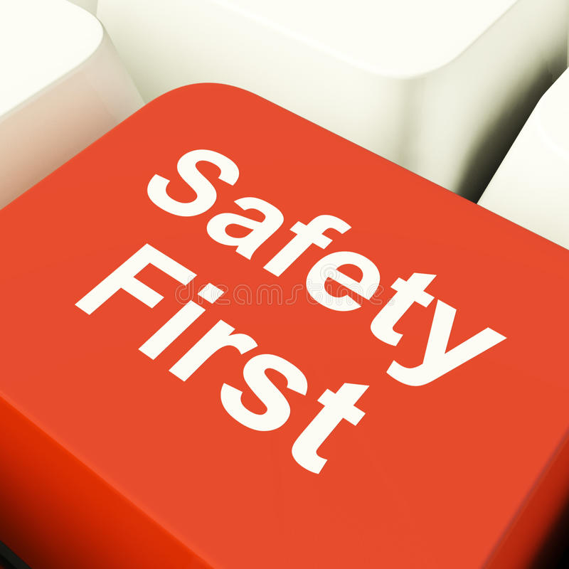 Safety First Computer Key Royalty Free Stock Images