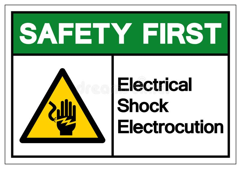 Safety First Electrical Shock Electrocution Symbol Sign, Vector Illustration, Isolate On White Background Label .EPS10 royalty free illustration