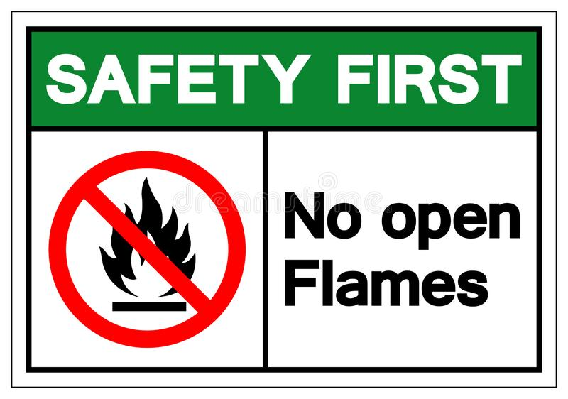 Safety First No Open Flames Symbol Sign ,Vector Illustration, Isolate On White Background Label. EPS10 vector illustration