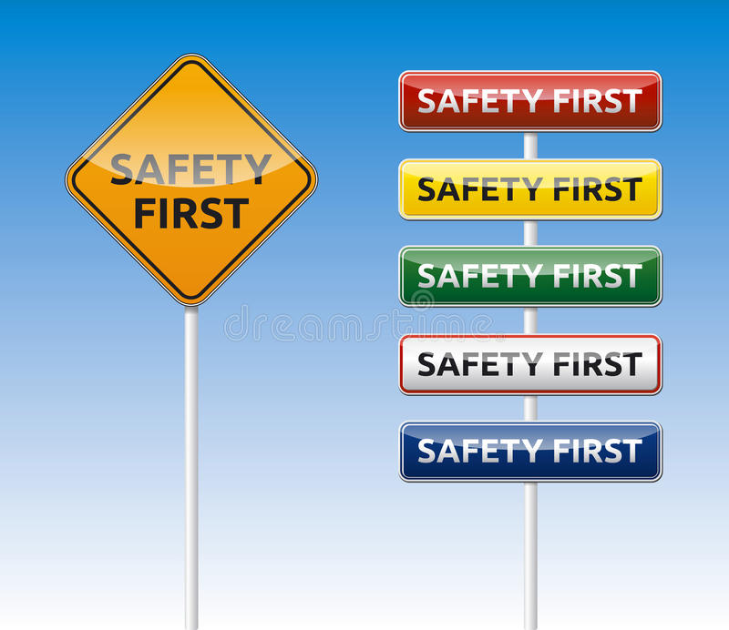 Safety first road board collection royalty free stock images